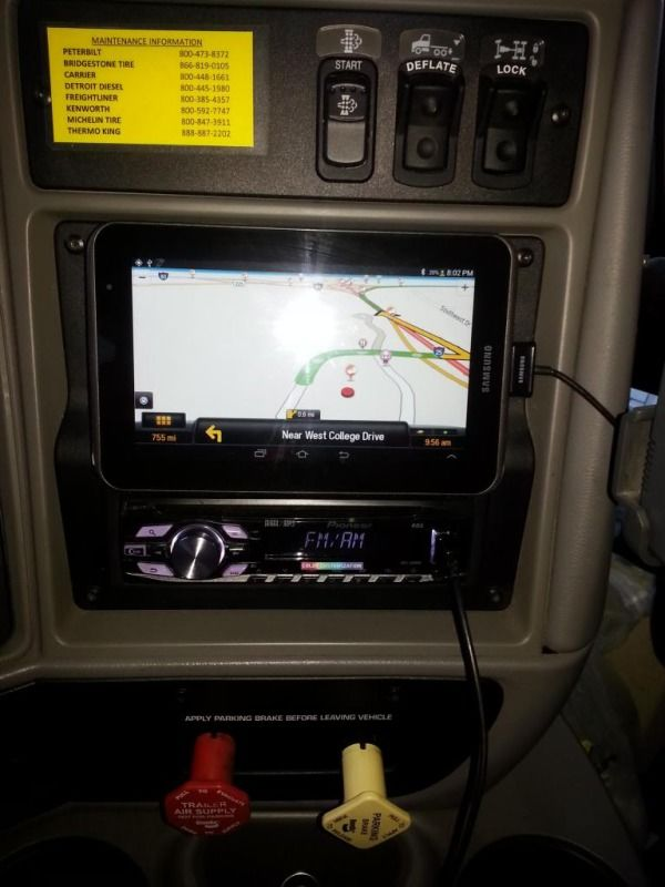 trucker using tablet as GPS