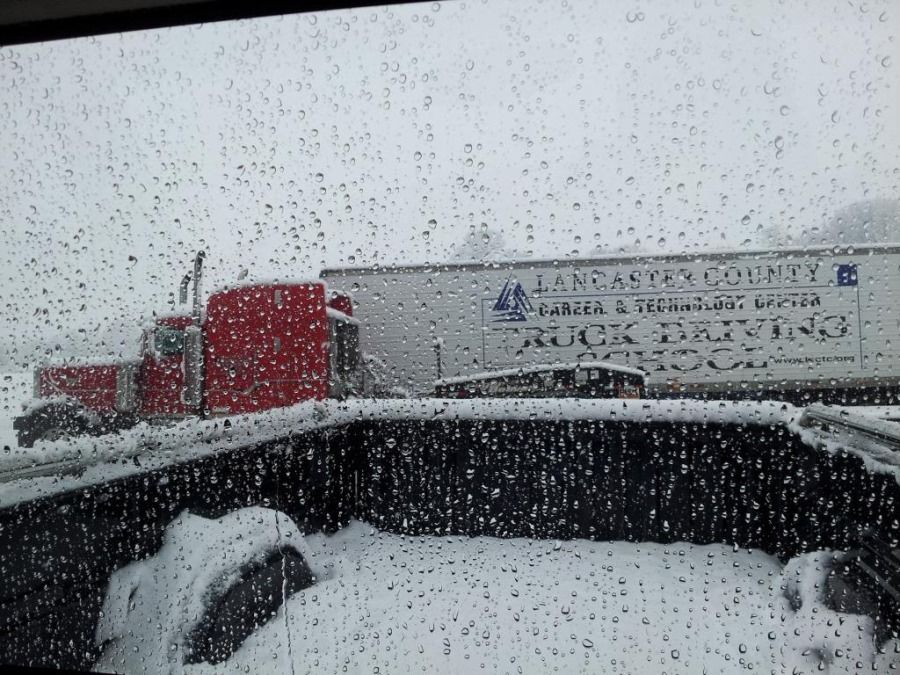 Lancaster county truck driving school truck in the snow