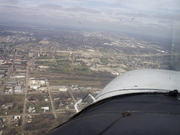 aerial view of Des Moines Iowa taken from small plane