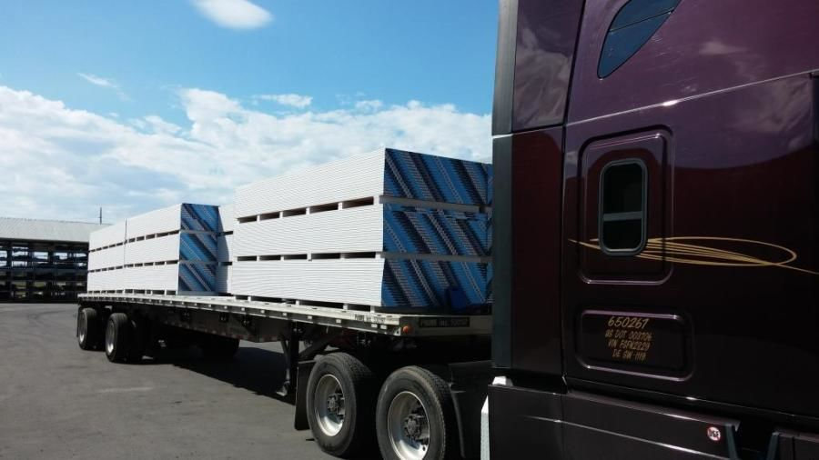 flatbed loaded with drywall