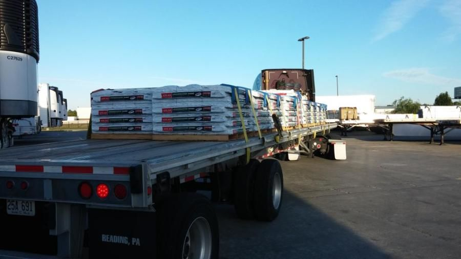flatbed loaded with shingles
