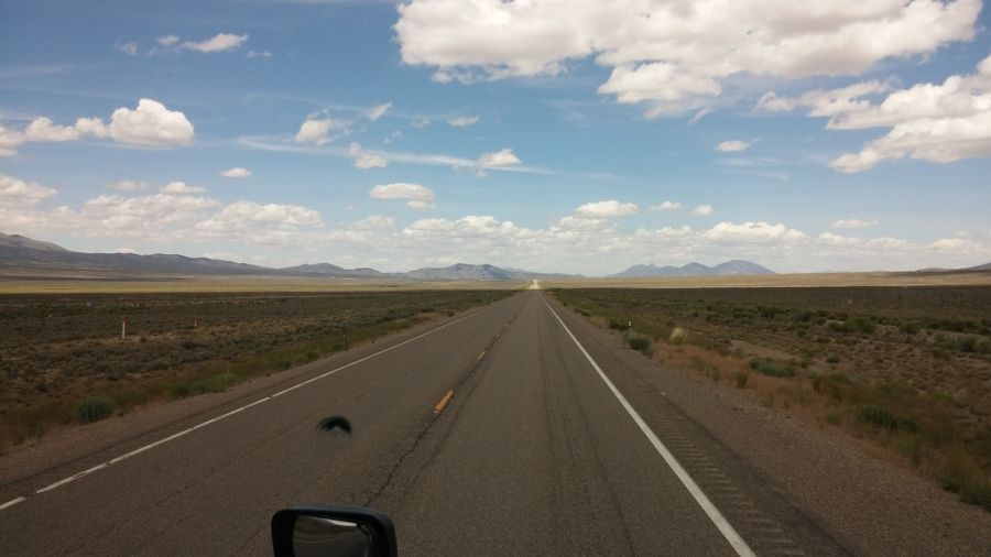 truckers picture of the open road and beautiful sky on US 50 in Nevada
