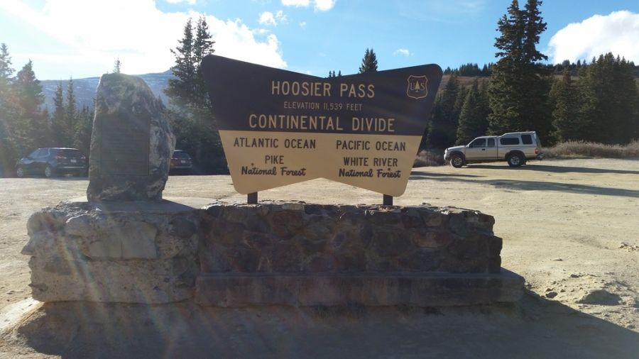 hoosier pass continental divide sign