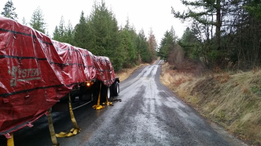 flatbedder strapping and tarping load in the rain on a dirt road in the woods