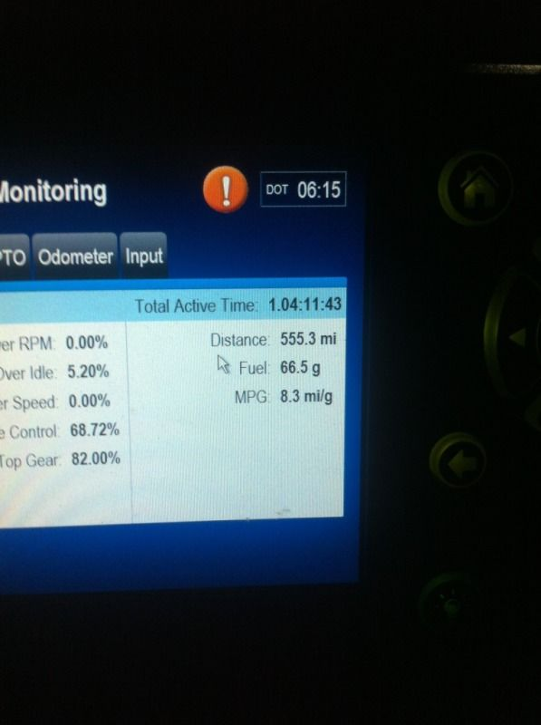 screenshot of truck drivers electronic fuel usage
