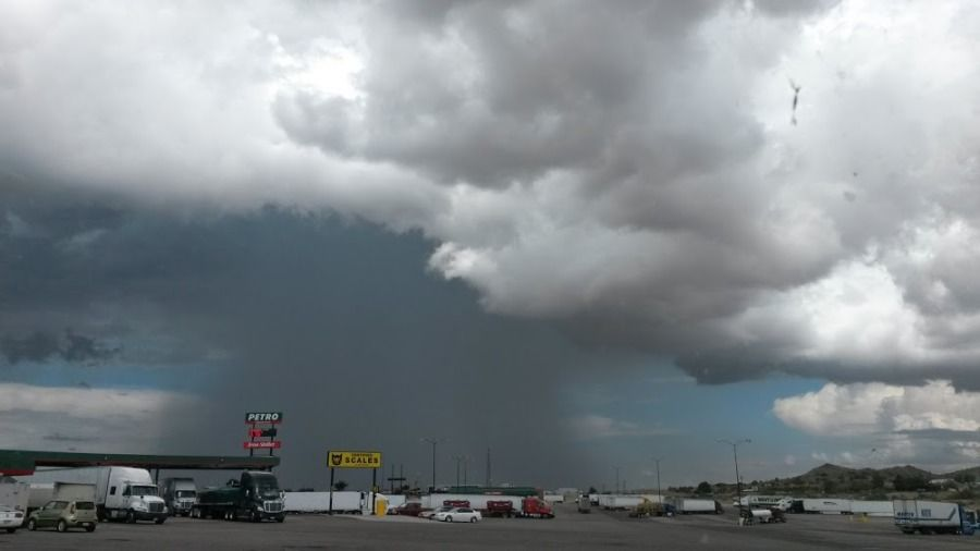 storm brewing at a truckstop in kingman AZ