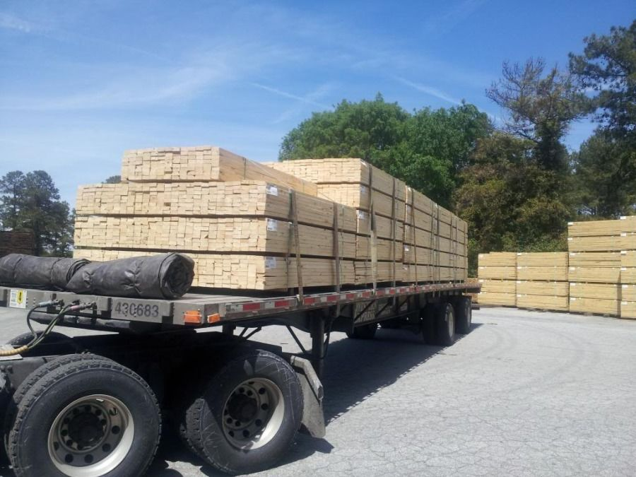 Lumber loaded on flatbed at Georgia Pacific mill in McCormick SC