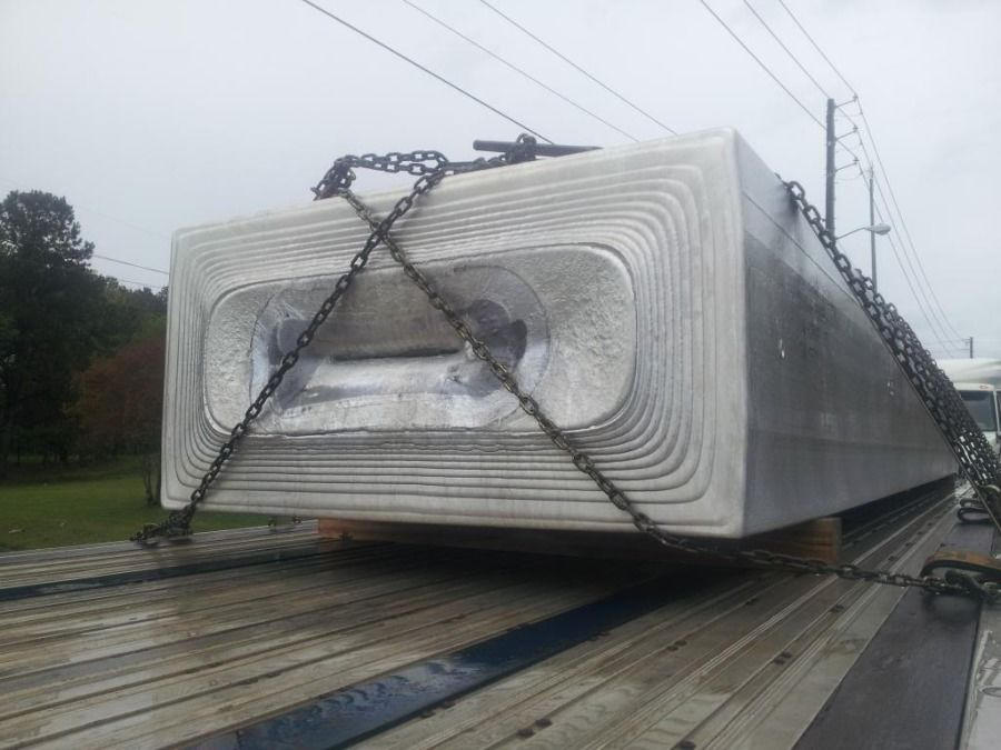 giant aluminum ingot on a flatbed going to Russelville, KY