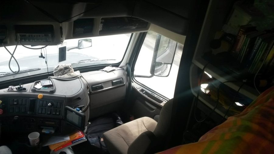 in-cab picture of passenger seat in big rig truck