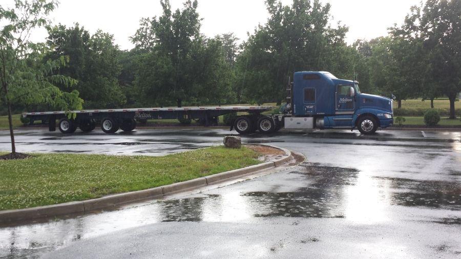 blue Melton flatbed trailer big rig truck truck
