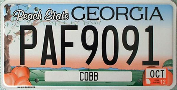 picture of Georgia license plate Cobb county