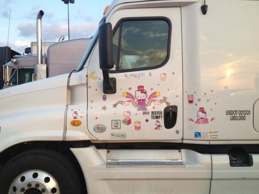 tractor-trailer decorated with Hello Kitty stickers