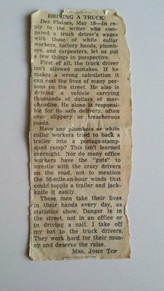 truck driver salary newspaper article letter to the editor