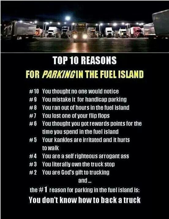 funny trucking memes parking in the fuel island