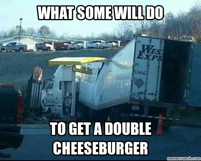 funny trucking picture Western Express truck stuck in drive-through getting a cheeseburger