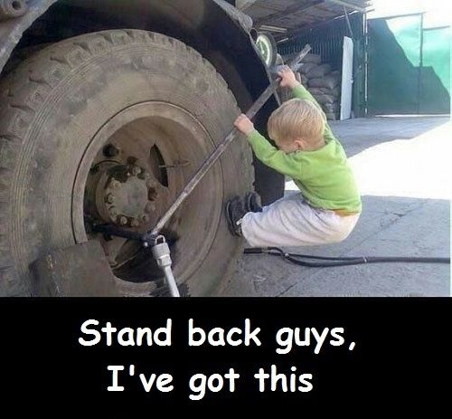 trucking meme little kid trying to change tire