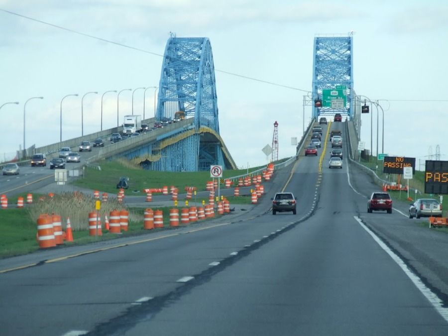 picture of the grand island bridge in buffalo ny taken by a truck driver