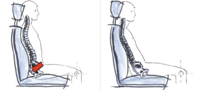 graphic of truck driver posture lower lumbar support