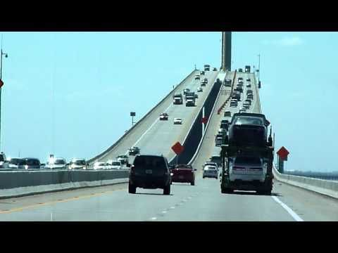 big rig truck driving across the Skyway Bridge in Florida