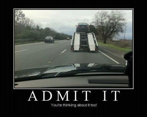 funny trucking pictures car carrier on the road with ramp down
