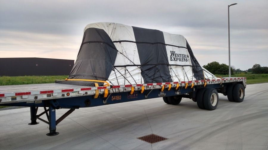 Western Express loaded flatbed trailer