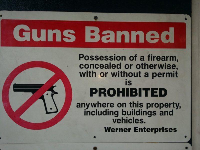 werner enterprise gun ban sign