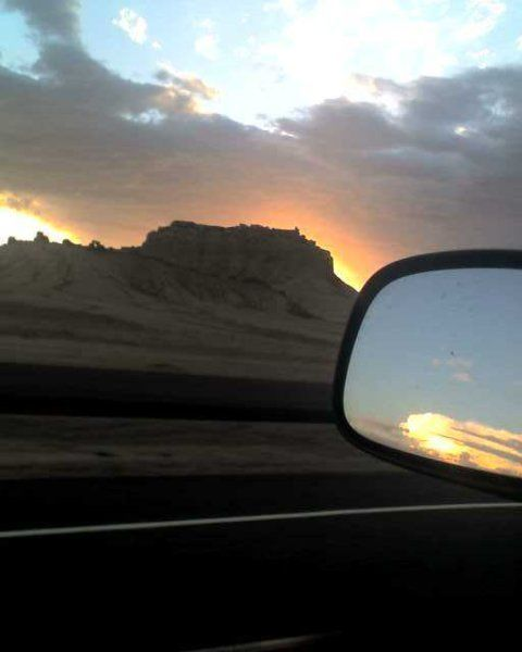trucking scenery mountain against beautiful sunset