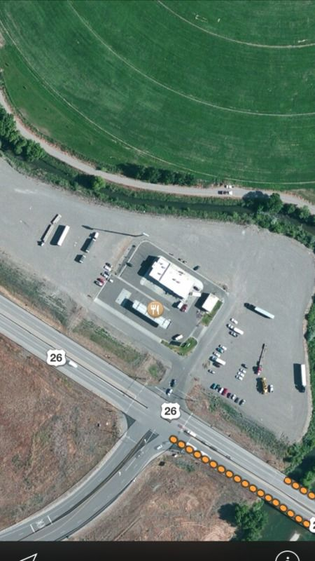 Overhead view of a truckstop
