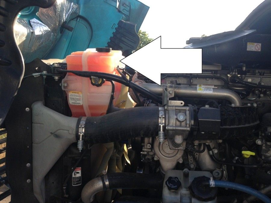 truck driver's pretrip inspection coolant reservoir