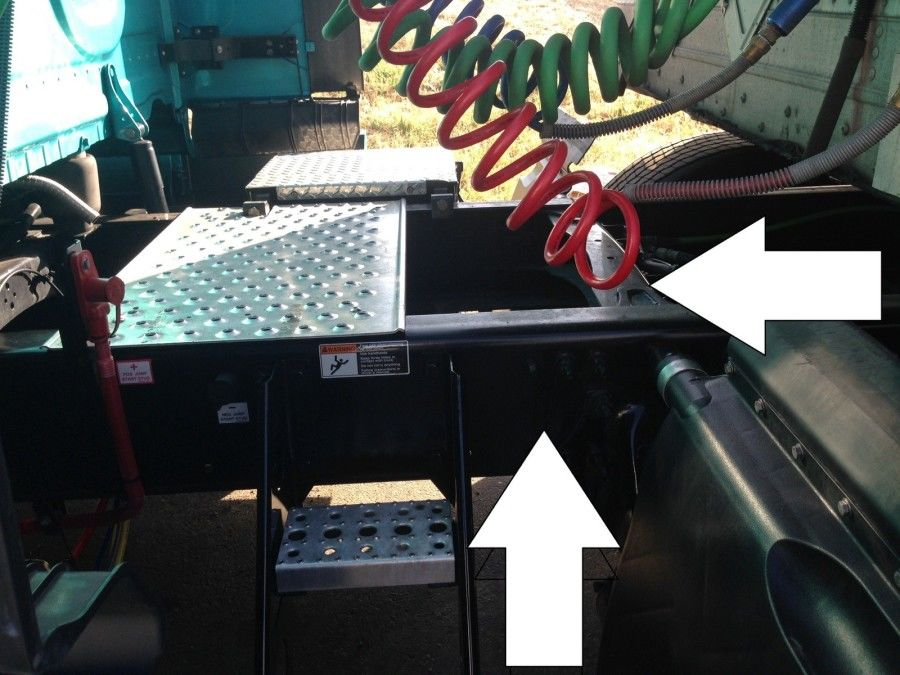 truck driver's pretrip inspection frame and cross members