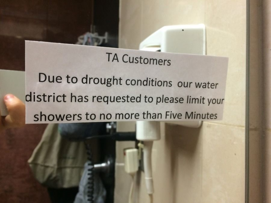 TA 5-minute shower limit sign