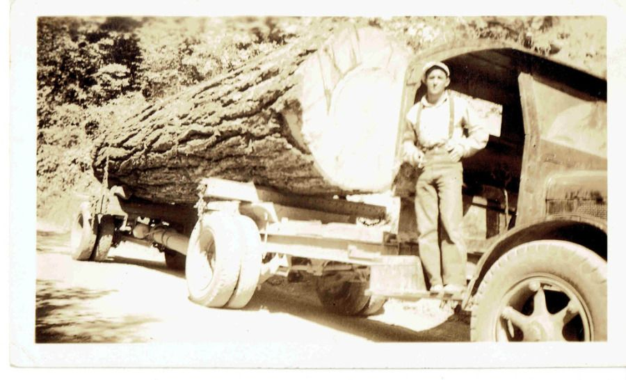 vintage black and white 1950's log truck and driver