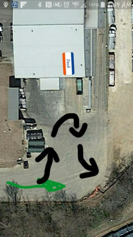 overhead view of truck drivers dock backing problem
