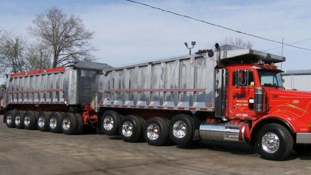 Michigan dump truck combination pulling 6-axle dump trailer
