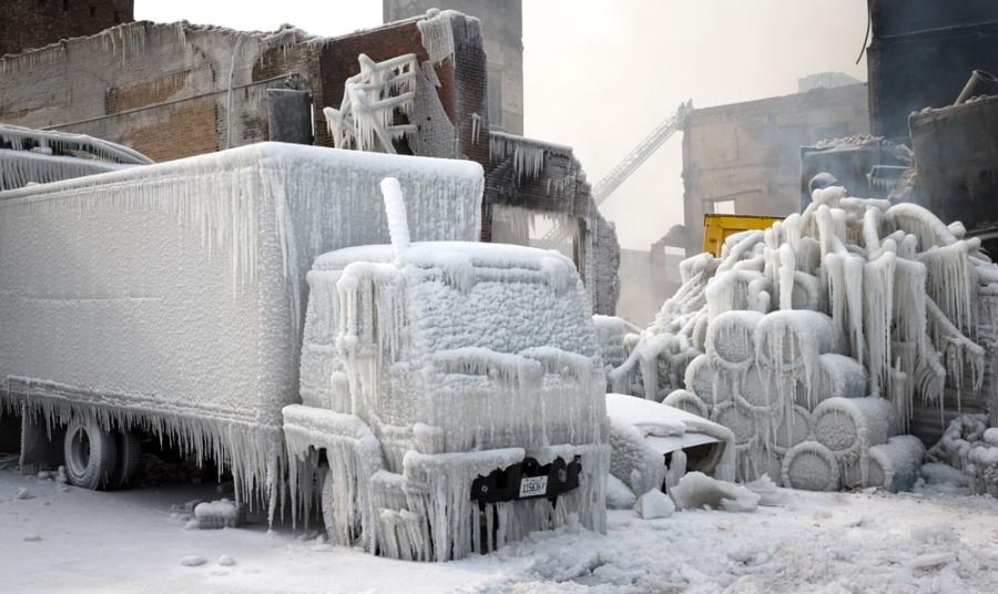 ice-covered truck in Chicago