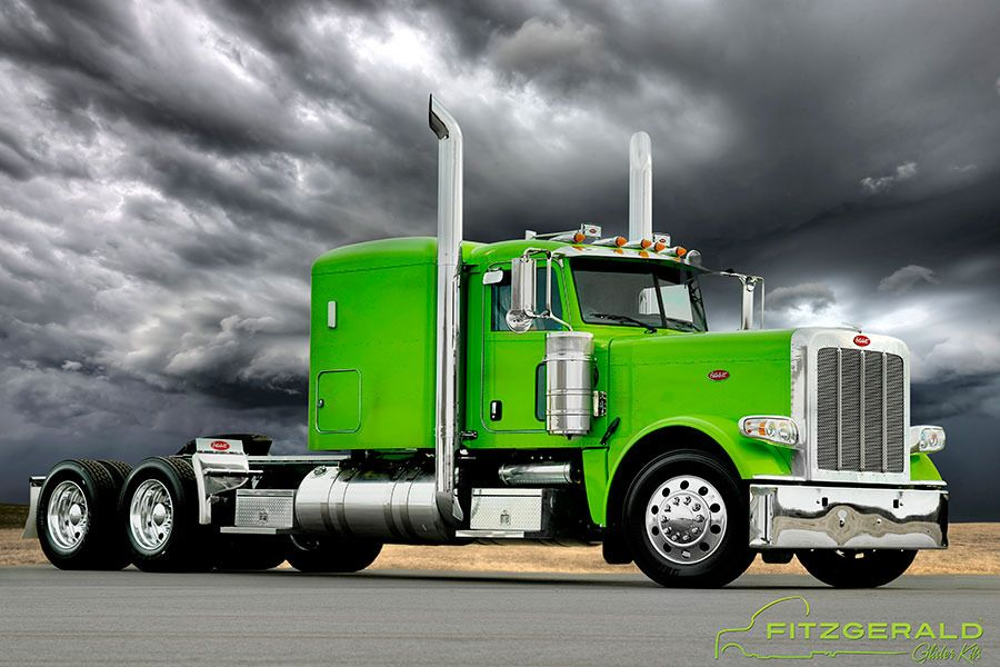slime green 389 semi truck from Fitzgerald Gliders
