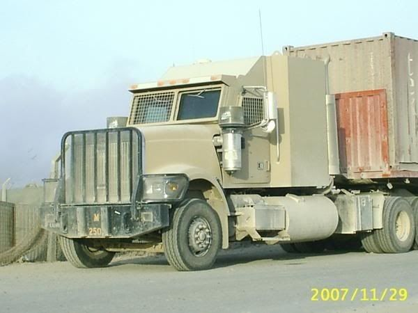 armored International truck used by the military in Iraq