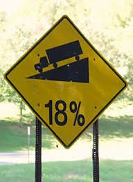 18 percent downgrade trucking sign