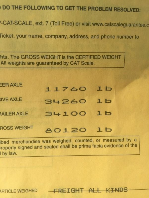 overweight scale ticket because trailer is covered with snow