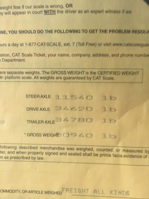 overweight scale ticket because trailer is covered with wet snow