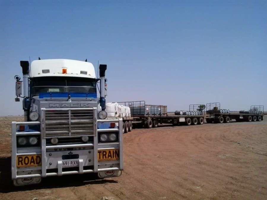 Australian rood train in the desert