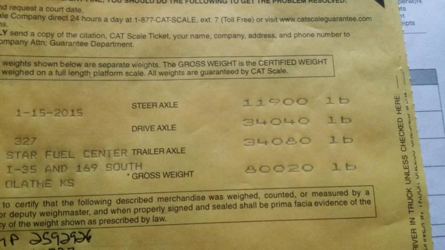 closeup of truck drivers overweight scale ticket