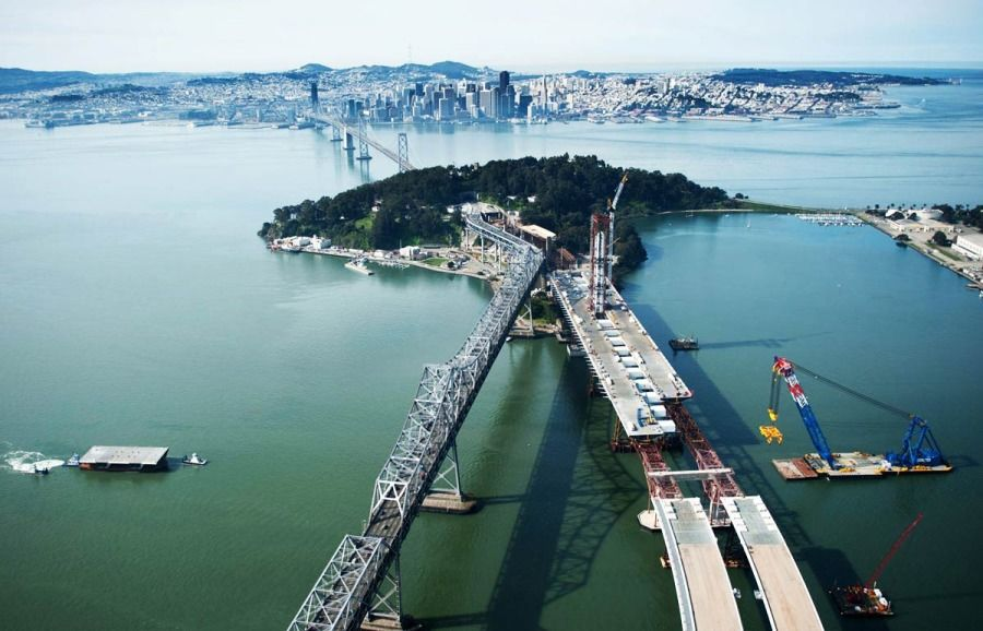 aerial view of construction on Bay Bridge in Oakland/San Fran, CA
