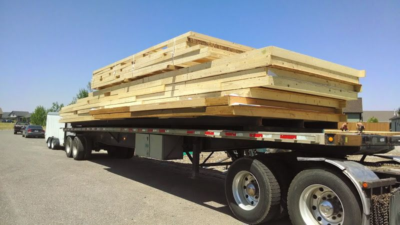 flatbed loaded with construction materials