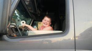 Boy in Truck.