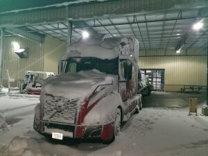Unloading in the snow.