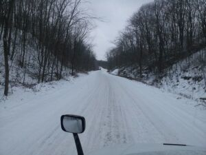 Snow bound road in Ohio.