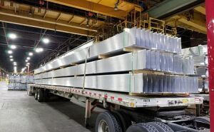 Load of aluminum extrusions.