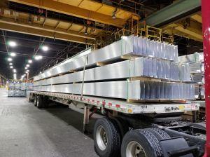 Aluminum flatbed load.