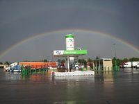 Rainbow at a Truck Stop
